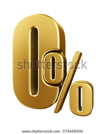 Gold zero percent, isolated on white background. - stock photo