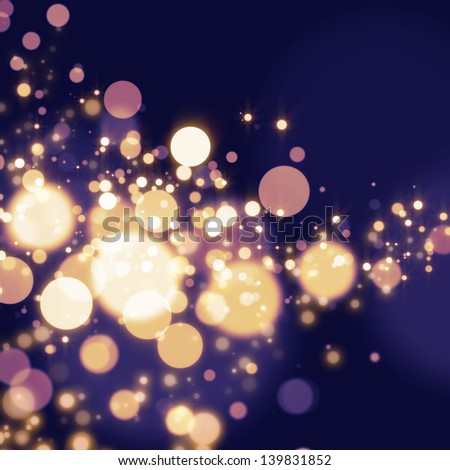 Golden Abstract Bokeh light Background - stock photo