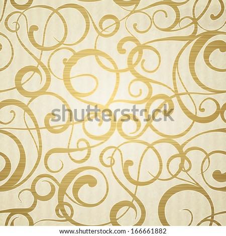 Golden abstract pattern on sepia background.   illustration. - stock photo