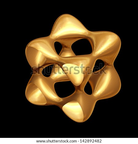 Golden abstract shape with rounded corners isolated on black