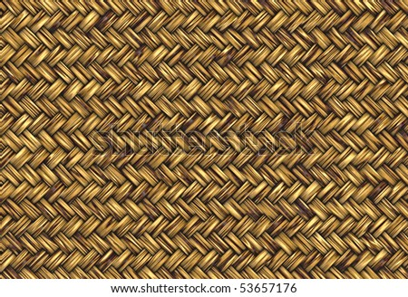 golden abstract woven straw wicker background texture - stock photo