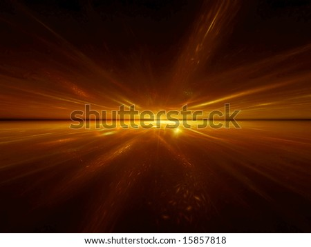 Golden Acceleration - 3D Fractal Illustration - stock photo