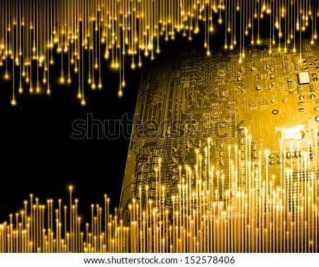 Golden age of computer technology concept background - stock photo