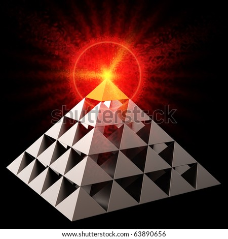 Golden all seeing eye financial pyramid abstract. Bright red burning on top. Leadership concept. This is a detailed 3D render (Hi-Res). Isolated on black - stock photo