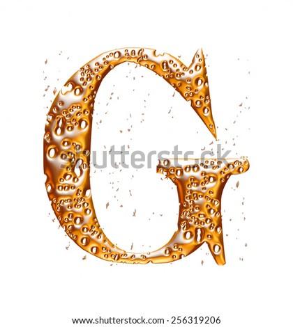 Golden alphabet letter G on white background - stock photo