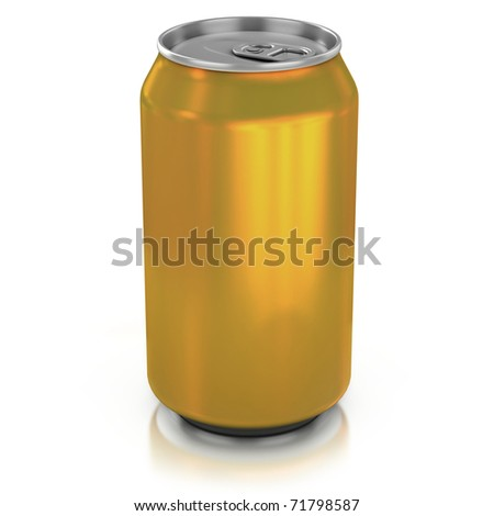 golden aluminium can on a white background 3d illustration