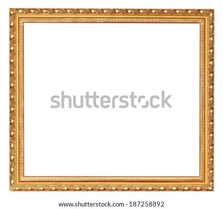 golden ancient wooden picture frame with cut out canvas isolated on white background