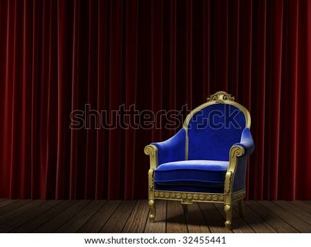 golden and blue armchair on a stage with a red velvet theater curtain as background