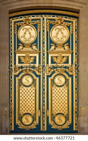Golden And Blue Elegant Decorated Door, Les Invalides In Paris - stock photo