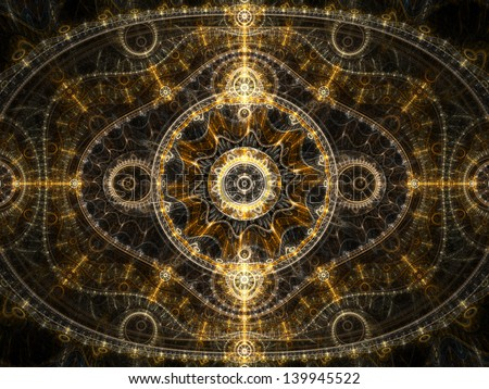 Golden and glossy fractal clockwork, digital artwork for creative graphic design