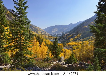 golden and green aspen overlooking Maroon Lake and Elk Mountains in Colorado during fall - stock photo