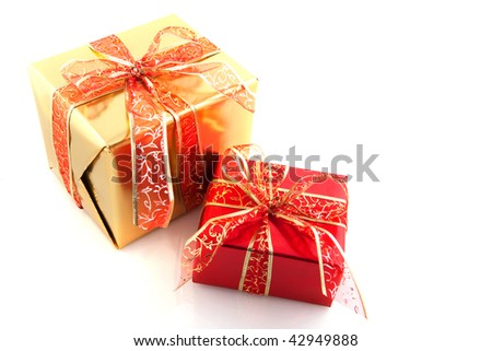 golden and red christmas presents