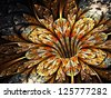 Golden and shiny fractal flower, abstract digital art - stock photo