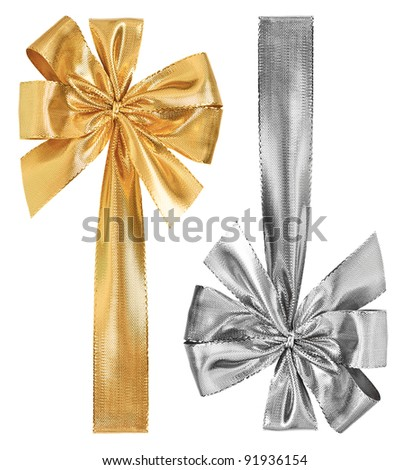 golden and silver bow isolated on white - stock photo
