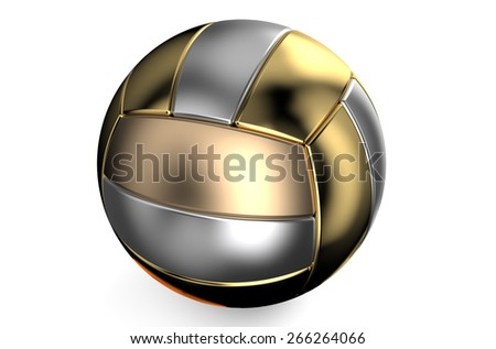 golden and silver volleyball ball isolated on white background - stock photo