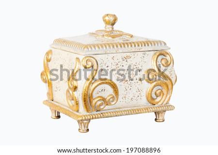 Golden Antique box Isolated on White Background - stock photo