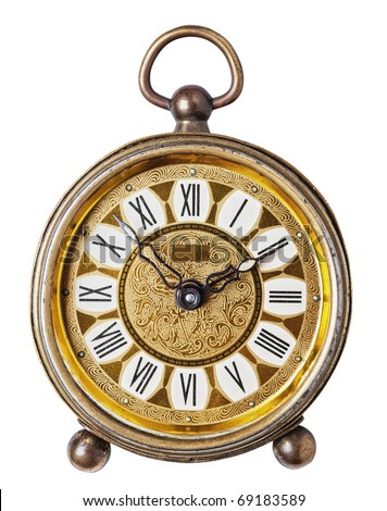 Golden antique clock isolated, white background, clipping path.