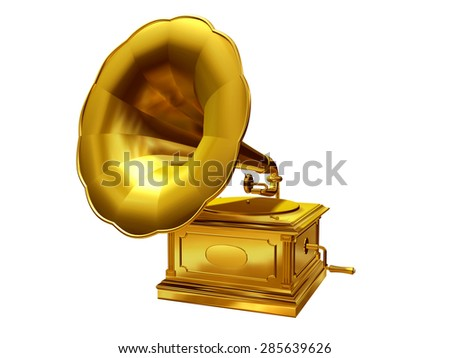 golden, antique Gramophone - stock photo