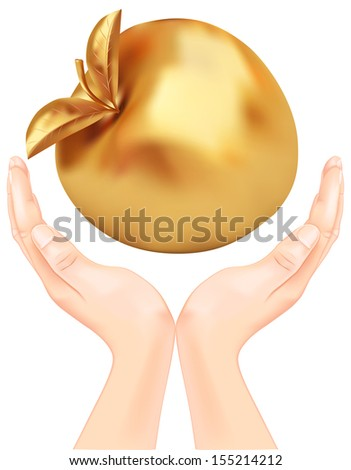 golden apple in hand. Rasterized illustration. Vector version in my portfolio - stock photo