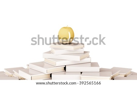 Golden apple on pile of book, isolated on white background, 3d rendered - stock photo