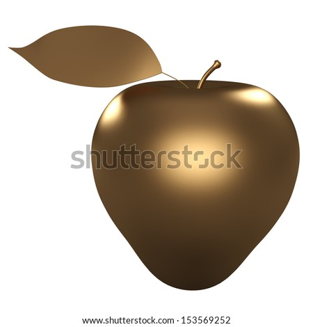 Golden Apple. white background. isolated. 3D - stock photo