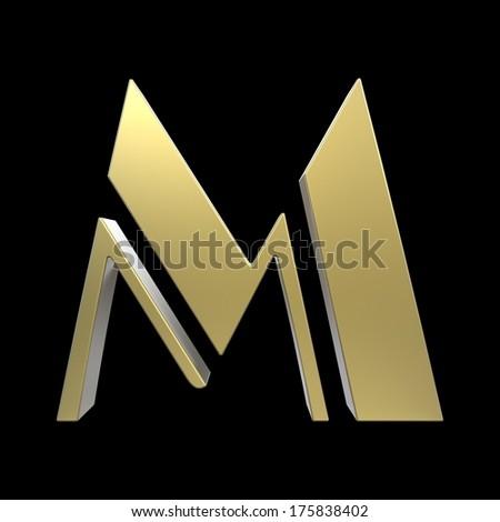 golden art deco alphabet, letter M isolated on black background - stock photo