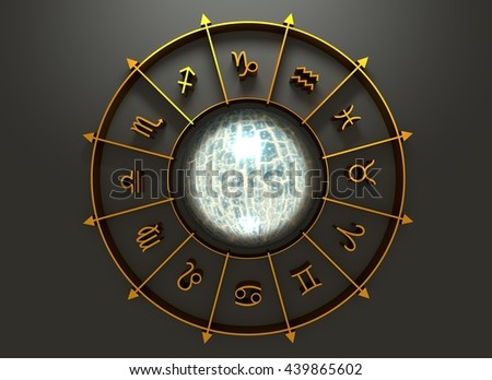 Golden astrological symbol in the circle. Cracked surface sphere in the center of the ring. 3D rendering