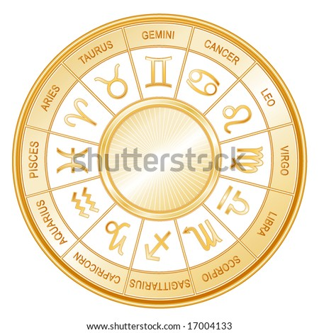 Golden Astrology Wheel.  12 horoscope signs of the zodiac with titles on a white background: Aquarius, Aries, Cancer, Capricorn, Gemini, Leo, Libra, Pisces, Sagittarius, Scorpio, Taurus, Virgo. - stock photo