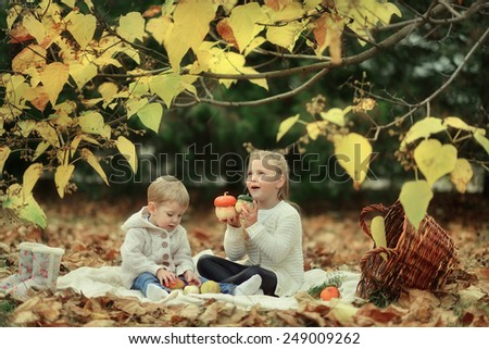golden autumn forest picnic, cheerful boy with a cute little girl in a big basket - stock photo
