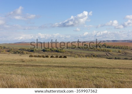 Golden autumnal field of wheat and sky with clouds in background. straw bales on farmland - stock photo