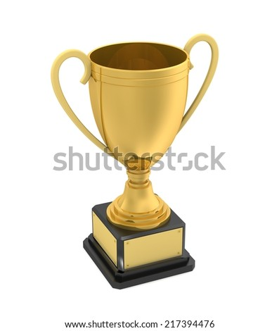 golden award cup on isolated white background