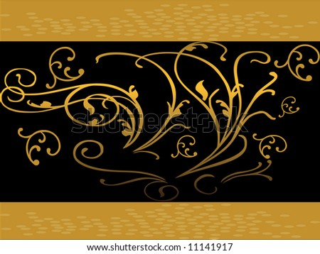 Golden background with  dark gold circles and a black bar with golden swirls