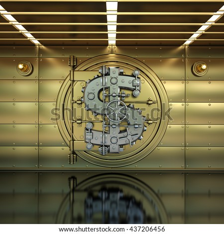 golden Bank Vault Door. Business concept. currency dollar symbol and banking safe. High resolution 3D