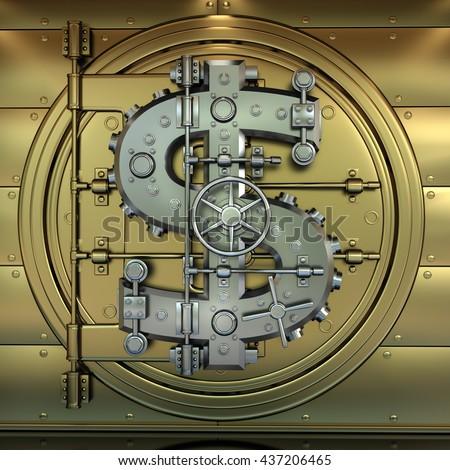 Golden Bank Vault Door Business Concept Stock Illustration