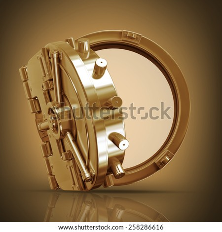 golden bank vault door. High resolution 3D. collection of gold objects - stock photo