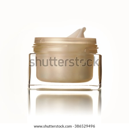 Golden bank with cream on white background