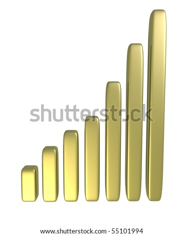 Golden Bar Chart - stock photo