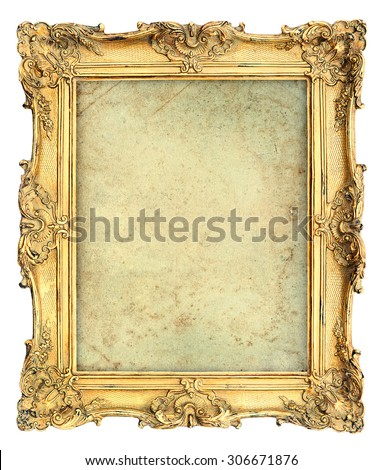 Golden baroque style picture frame with canvas isolated on white background. Vintage object - stock photo