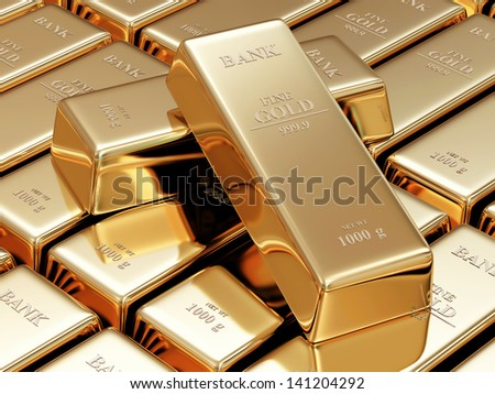 Golden Bars Abstract Background