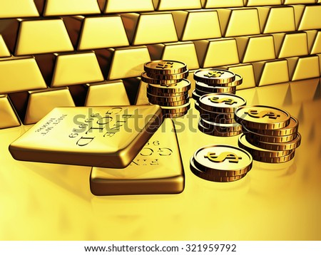 Golden Bars And Dollar Currency Coins. 3d Render Illustration - stock photo