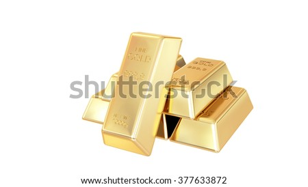 Golden bars isolated - stock photo
