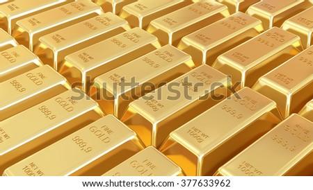Golden bars isolated - stock photo