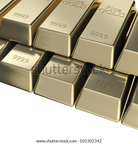 Golden bars stack, pyramid pile of pure gold background - stock photo
