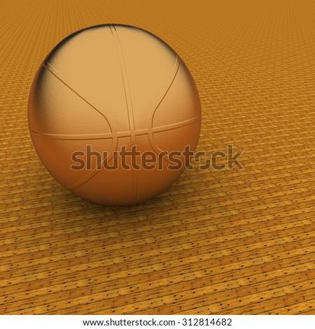 Golden basketball over wooden background, 3d render, square image - stock photo