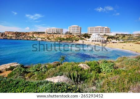 Golden beach on Malta, Mediterranean sea - stock photo