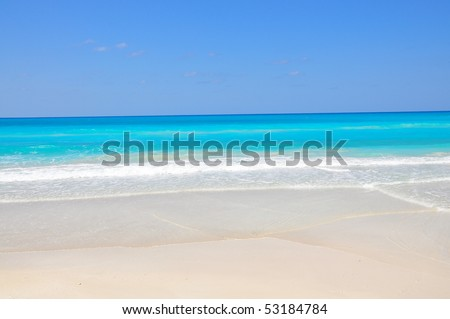 Golden Beach with waves - stock photo