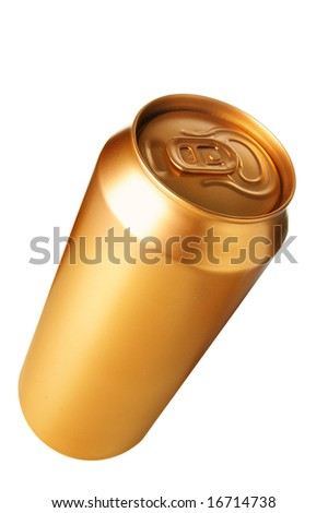 Golden beer can isolated over white background - stock photo