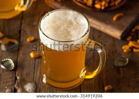 Golden Beer in a Glass Stein for Oktoberfest - stock photo