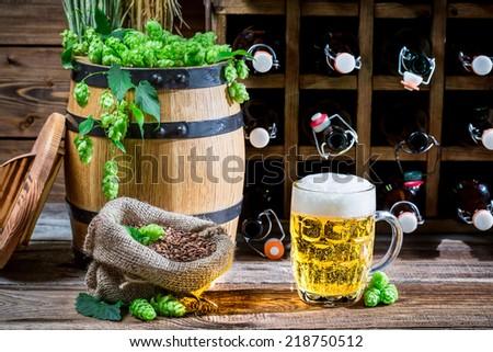 Golden beer in the gourmet cellar - stock photo