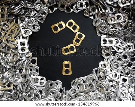 Golden beertabs question mark - stock photo